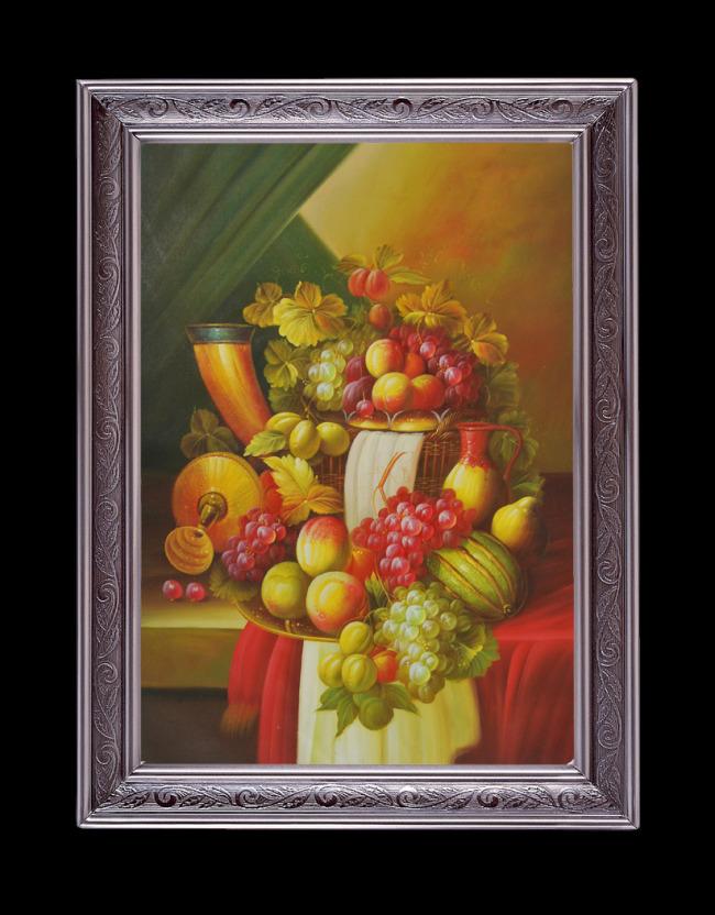 水果油画葡萄桃子油画静物