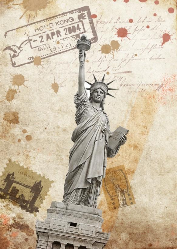 美国自由女神像复古高清图模板下载图片编号