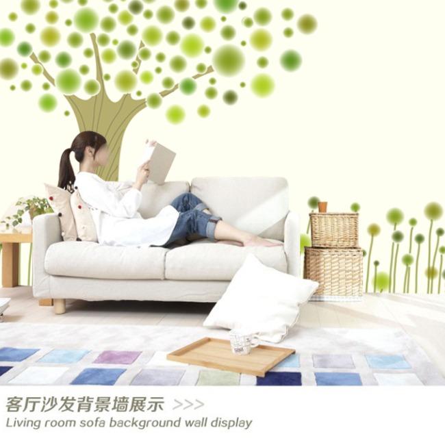 卡通 背景墙/简约时尚卡通树背景墙设计模板下载