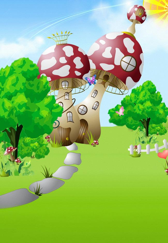 卡通 背景 儿童/蘑菇城堡卡通儿童背景大图清晰