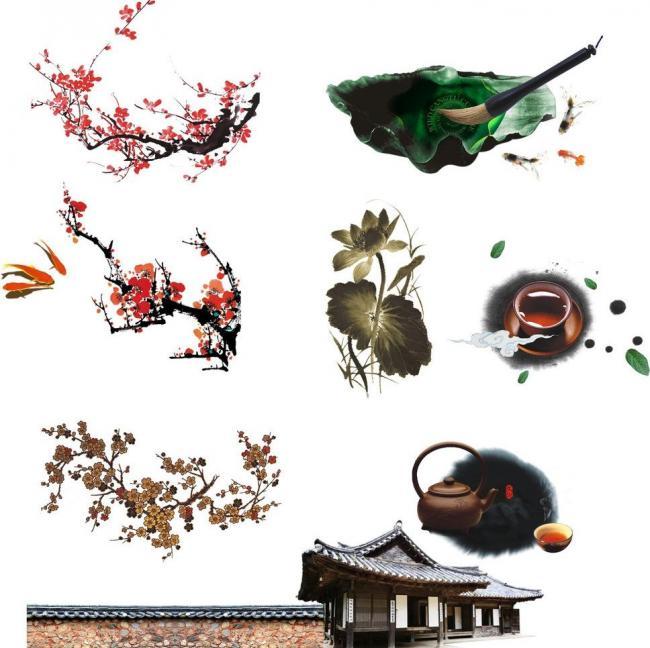 中国茶文化 梅花荷花图片模板下载图片编号:1
