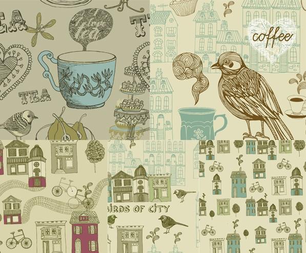 复古手绘花鸟建筑设计