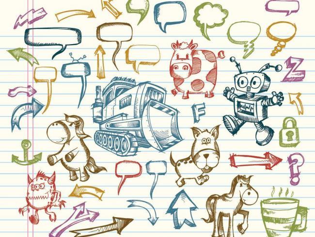 手绘箭头动物对话泡泡图标矢量图片