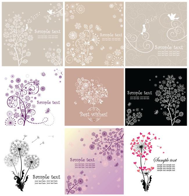素雅线描植物花纹模板下载 11382014