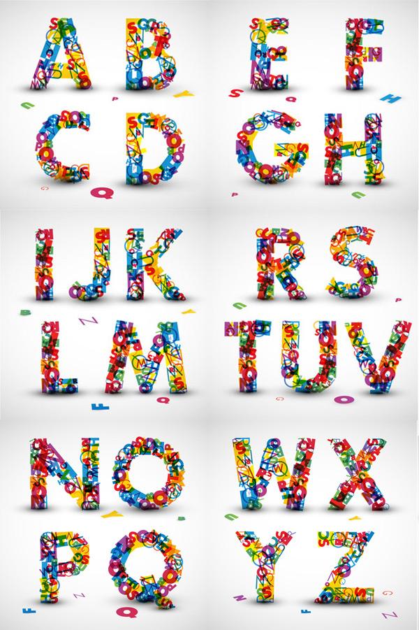 创意26个英文字母矢量素材下载图片