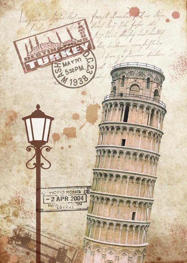 设计素材-比萨斜塔