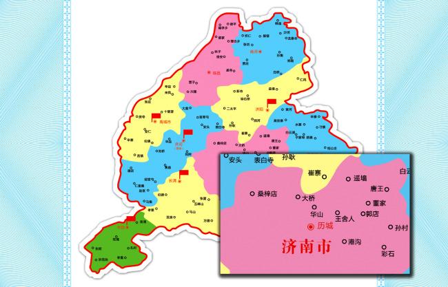 高精度地图 电子地图 中国地图山东山东地图 山东省县级分布图 济南