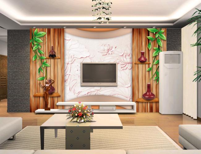 绿藤木墙木板创意空间电视背景墙
