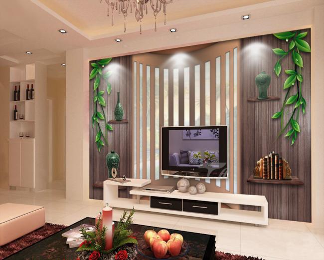 绿藤木墙木板创意空间电视背景墙图片