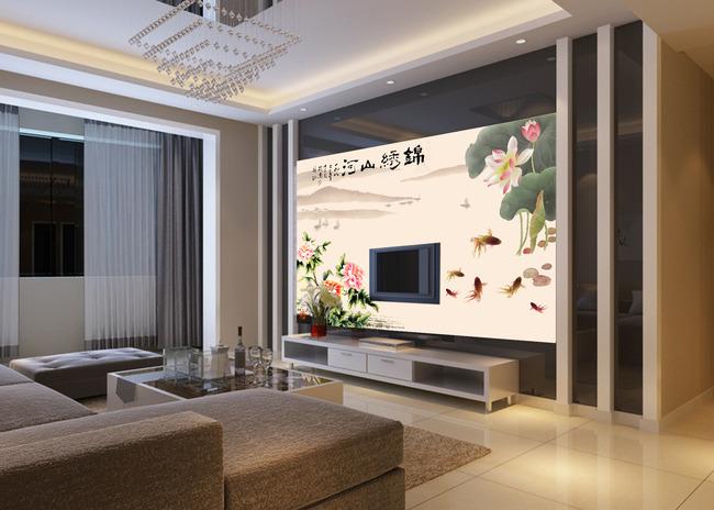 中式精美电视背景墙图片下载  电视背景墙装修效果图 电视背景墙布图片