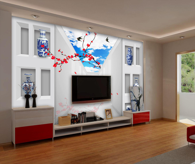 创意3d立体红梅梅花创意空间电视背景墙