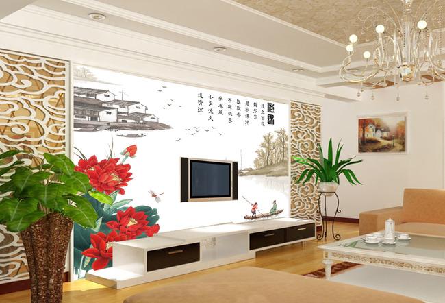 渔归中式经典文化电视背景墙图片