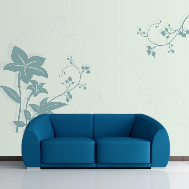简单手绘百合花图案背景墙