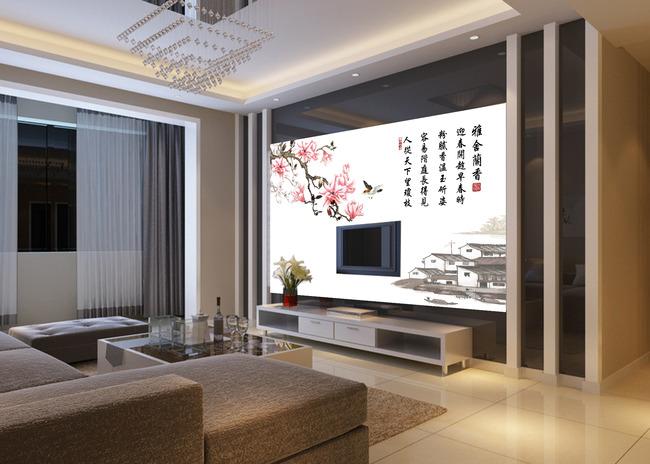雅舍兰香中式时尚精美电视背景墙图片