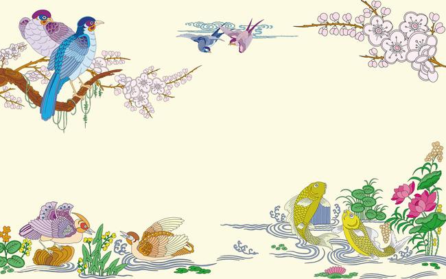 手绘山水花鸟电视背景墙