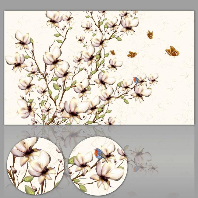 手绘花鸟欧式花纹图片