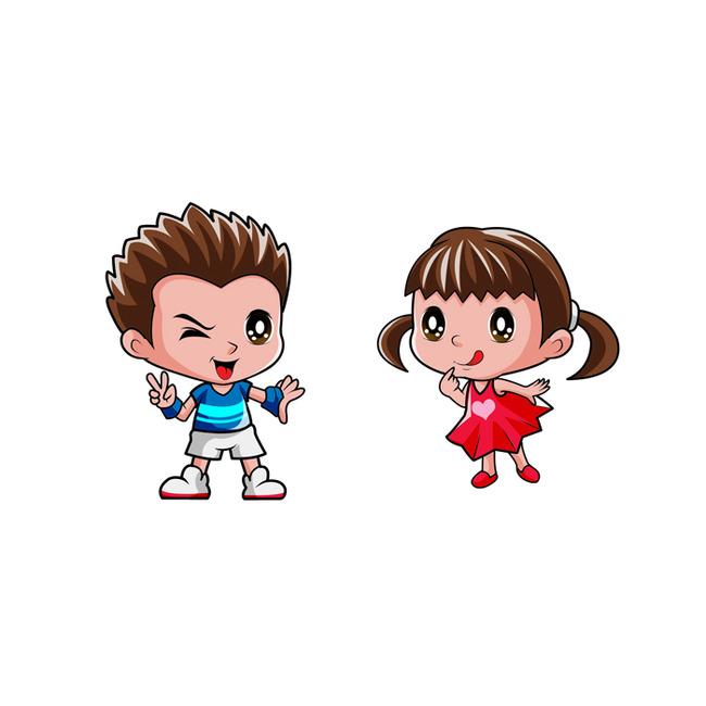 小男孩小女孩卡通形象psd分层源文件下载图片下载 可爱小男孩 可爱小图片