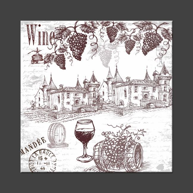 无框画 手绘 绘画 葡萄酒 酒庄 红酒庄 酒吧挂画 红酒 洋酒 酒吧装饰