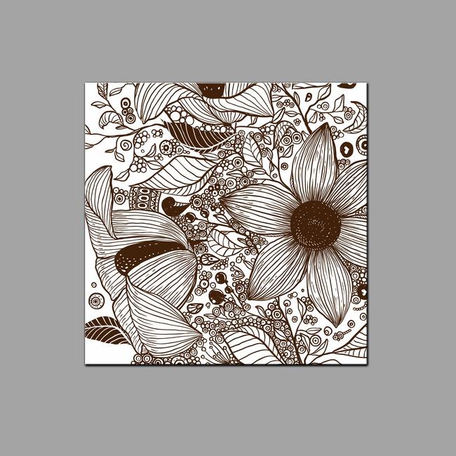 手绘复古花纹无框画模板下载 11420394 装饰画 背景墙