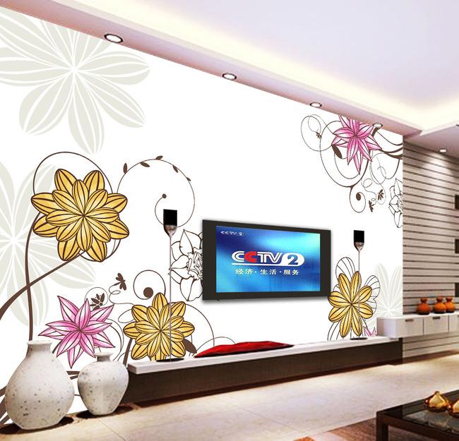 背景墙 电视 花朵/淡雅手绘花朵花卉电视背景墙
