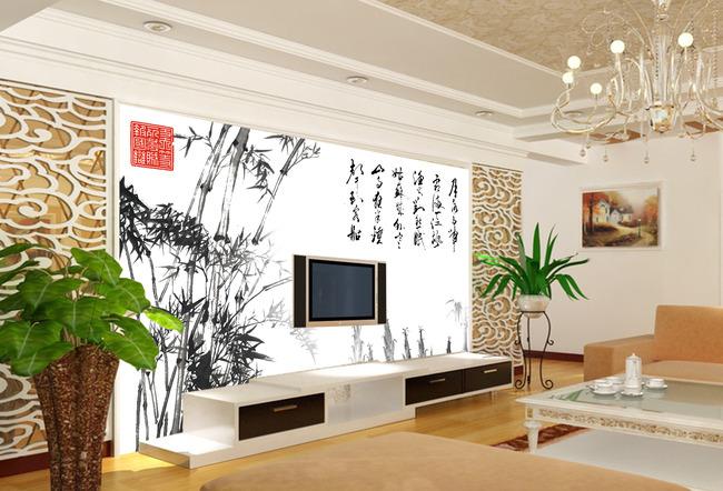 水墨竹子图中式古典文化电视背景墙图片