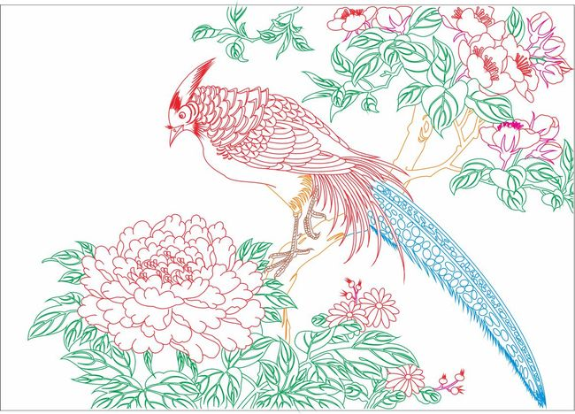 牡丹花铅笔画线描