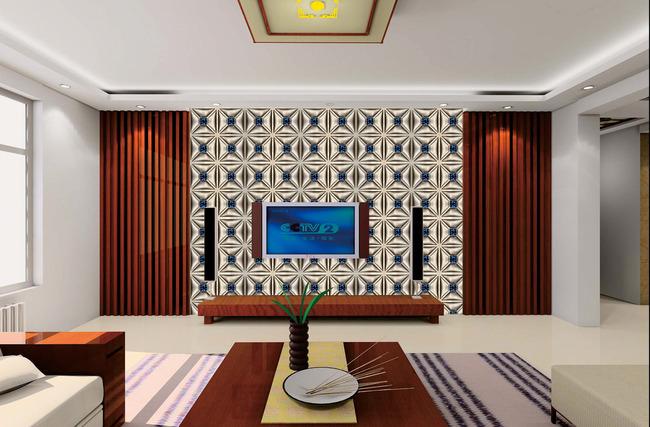 欧式深色边框电视背景墙
