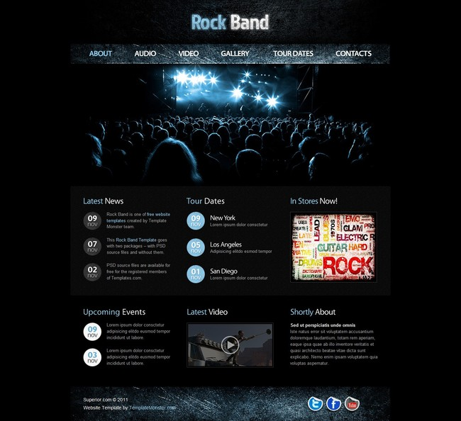 摇滚音乐网站网站模版,html5静态页面模板下载(图片:)