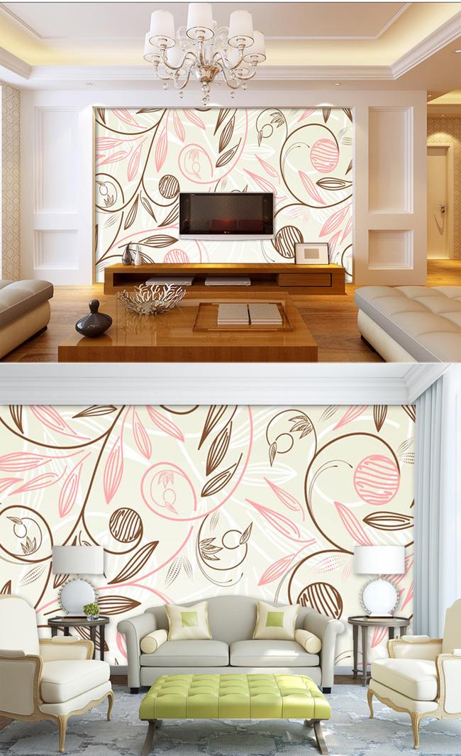 淡雅手绘花纹装修背景墙 室内背景墙沙发客厅电视背景墙 高档简洁简约