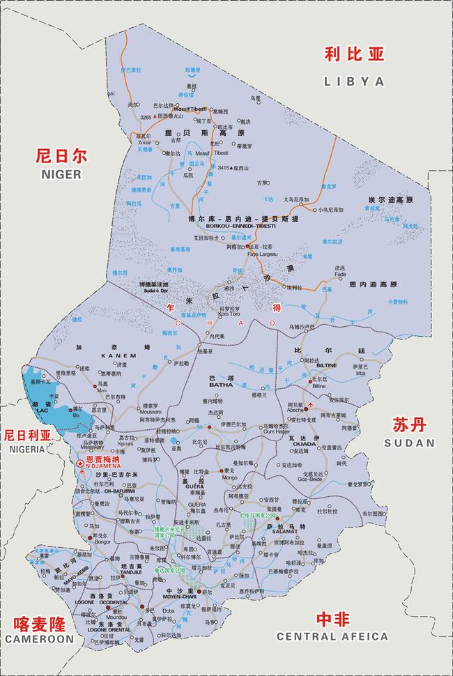 非洲乍得矢量地图
