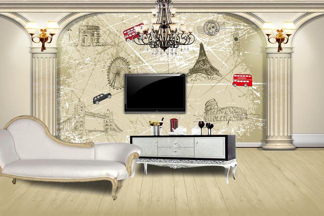 背景墙|装饰画 电视背景墙 手绘电视背景墙 > 欧式风格简约电视背景墙