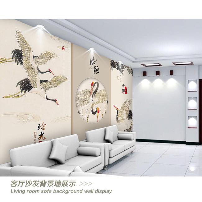 中国风仙鹤电视背景墙