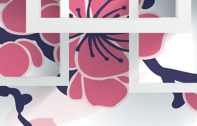 3d壁画梅花方框立体