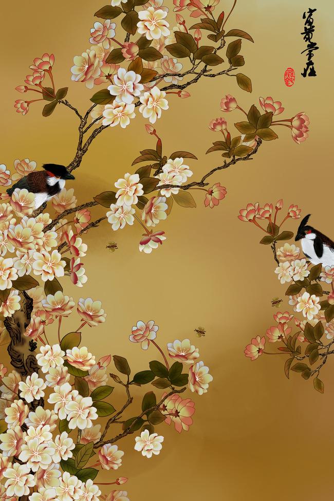 高清手绘花鸟玄关装饰画