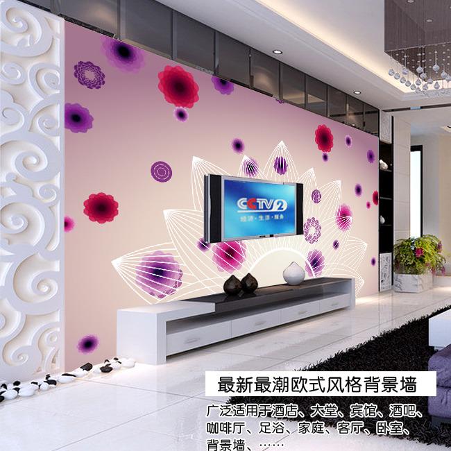 欧式线条花瓣电视背景墙