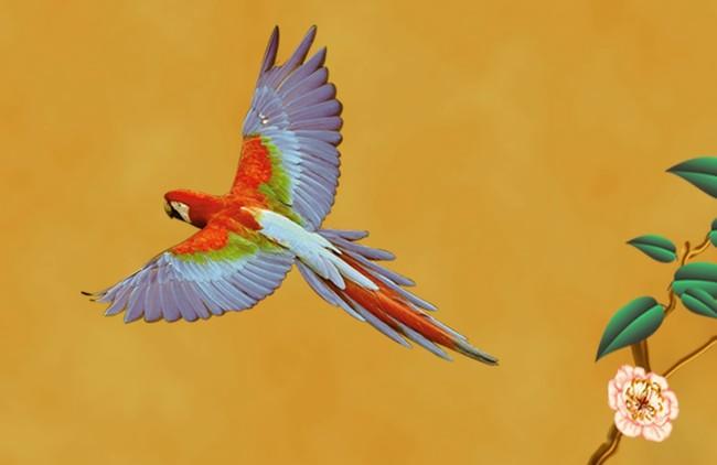 壁画手绘花鸟