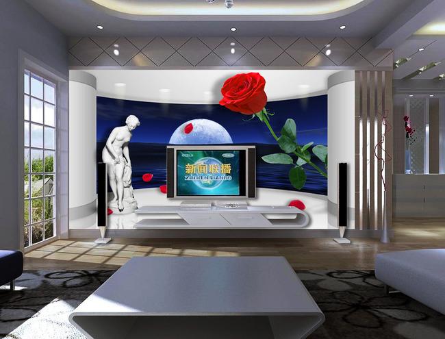 红玫瑰花瓣3d立体创意空间装饰电视背景墙