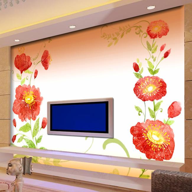 彩绘花卉电视背景墙图片