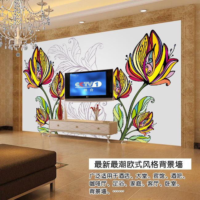 欧式手绘花电视背景墙