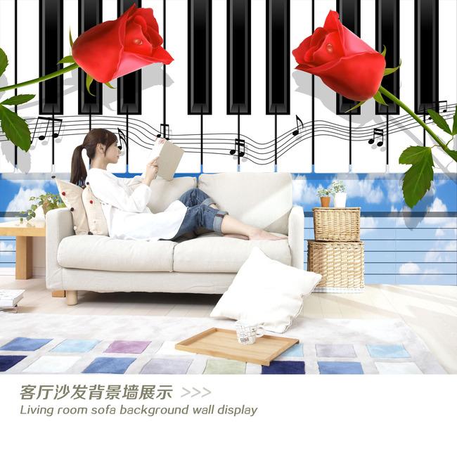 3d立体壁画钢琴玫瑰电视背景墙