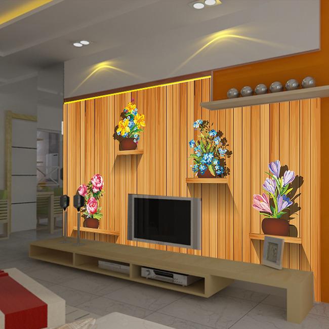 木板客厅电视背景墙