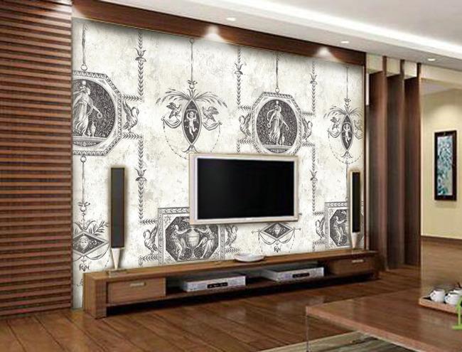 圣母圣婴简约木质电视背景墙 圣母圣婴 简约木质电视背景墙 欧式背景图片