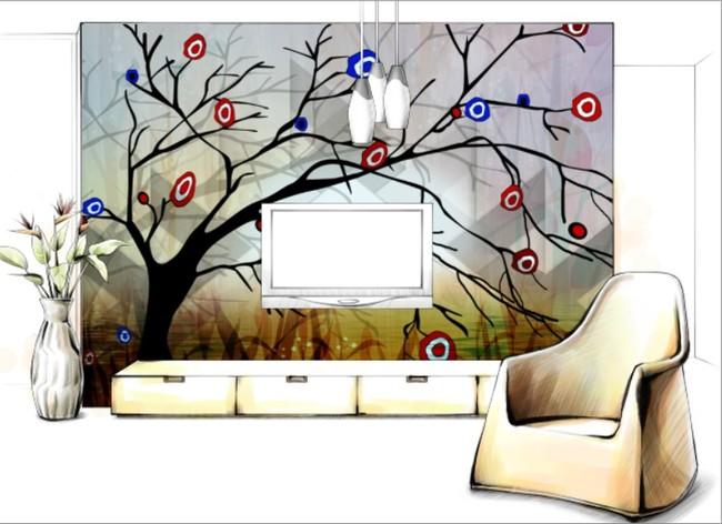 背景墙|装饰画 电视背景墙 手绘电视背景墙 > 抽象大树倒影觅觅壁画