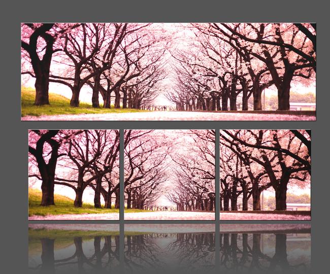 樱花树无框画模板下载图片