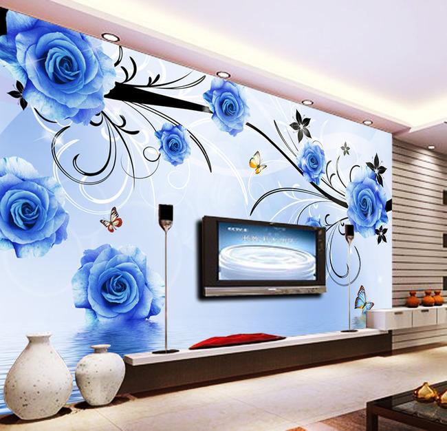 背景墙 电视 蓝色妖姬/蓝色妖姬玫瑰倒影电视背景墙