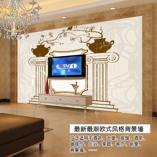 欧式手绘建筑电视背景墙