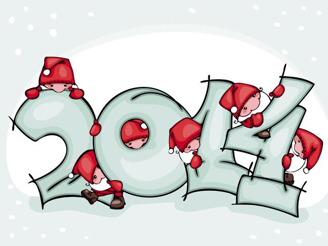 2014新年艺术字卡通小人
