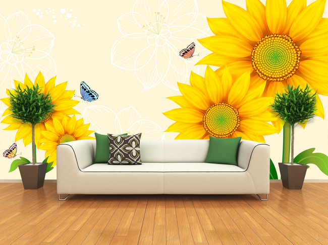 向日葵花朵电视背景墙装饰画