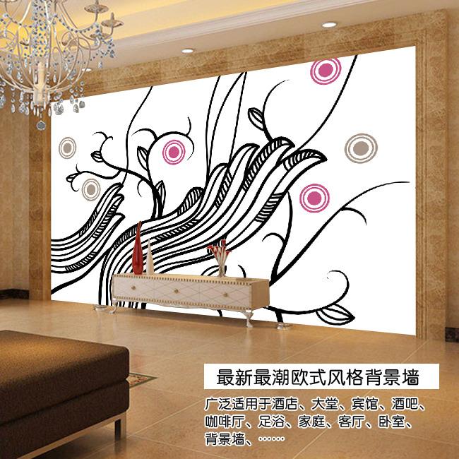 手绘抽象线条欧式电视背景墙