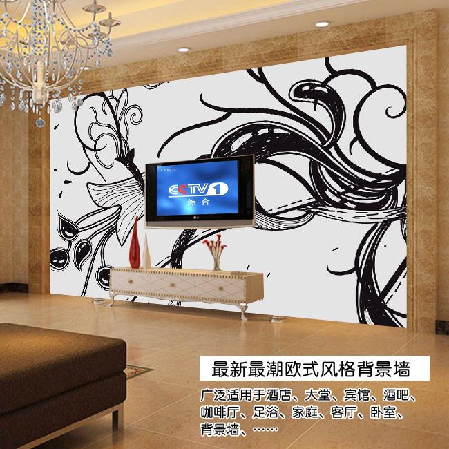手绘抽象花蕊欧式电视背景墙